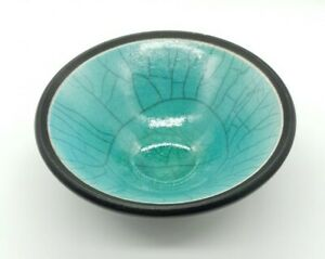 Raku Studio Pottery Bowl by Kevin Green Sussex Turquoise Glaze
