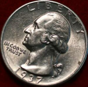 Uncirculated 1937-D Denver Mint Silver Washington Quarter