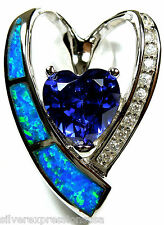 Tanzanite & Blue Fire Opal Inlay 925 Sterling Silver Heart Pendant