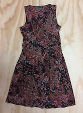 Lauren Ralph Lauren Size M Brown Paisley Faux Wrap Jersey Sleeveless Dress