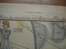 Patron Couture Original BLEUETTE de la SEMAINE DE SUZETTE 1939 Robe Ceremonie