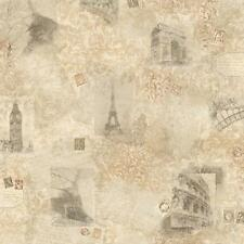 Wallpaper Paris Rome London European Travel Photo Collage Cream Tan Beige