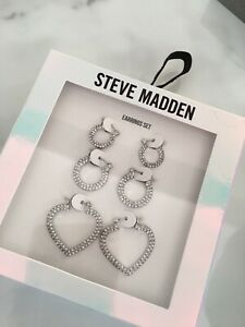 Steve Madden Diamonte Hoop Earring Set BNIB Gift Silver Love Island