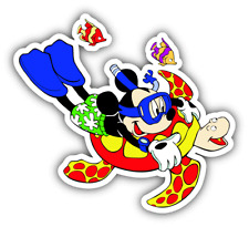 Mickey Mouse Diving Cartoon Car Bumper Sticker Decal 5'' x 4''