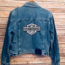 Harley Davidson Denim Jean Jacket Men's M Bar Shield Patch Trucker Faded Blue