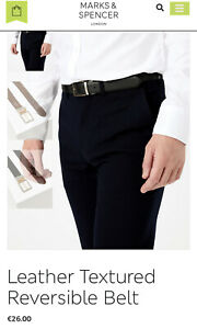MARKS AND SPENCER LEATHER BELT REVERSIBLE PULL AND TWIST SIZE 34-36 Inch RRP£19