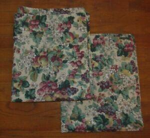 Laura Ashley Standard Size Pillow Sham Set of 2 Floral Grapes Fruit USA