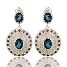 Iolite, London Blue Topaz Gemstone 925 Silver Drop Earrings Wedding Jewelry