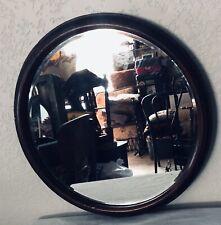 Antique English Mahogany Round Beveled Glass Hanging Mirror Mid 19th Century