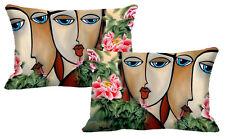 Faces 2 Pices Cushion Cover Waist Throw Pillow Case Pillowcase 12X18