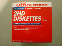 Office Depot 2 HD IBM 3 1/2in Diskettes, Box of 25 Floppy Disks! New!