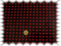 Herzchen in Reihe Wachstuch Baumwolle wasserabweisend schwarz rot 50 cm