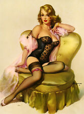 Gil Elvgren Sitting Pretty Lola 1955 pin up art on stretched canvas 8 x 10