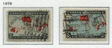1898 Canada.  Imperial Penny Postage.  2 x 2c stamps (grey & blue ocean) USED.