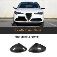 2PCS Auto Side Mirror Cover Cap For Alfa Romeo Stelvio 2017-2019 Carbon Fiber