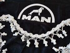 3 Pcs. Black Curtains With White Tassels And White Logo For MAN TGA TGX TGS TGL