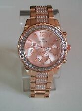 Designer Style hip hop CZ Bling clubbing Rose Gold finish ICE STAR fashion watch