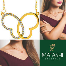 """16"""" Champagne Gold Necklace w/ Intertwined Heart Butterfly & Crystals by Matashi"""