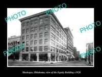 OLD LARGE HISTORIC PHOTO OF MUSKOGEE OKLAHOMA, VIEW OF THE EQUITY BUILDING c1920