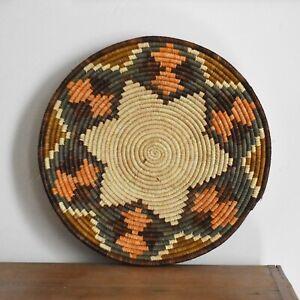 Handwoven shallow bowl   Ugandan Trinket dish   Ethical basket wall decor 24cm