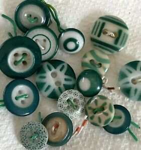 15 Vintage Green China Buttons, Stencil, Calico, Ringers, Bull's Eye