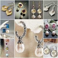 Fashion 925 Silver White Pearl Dangle Drop Earrings Stud Ear Hook Women Jewelry