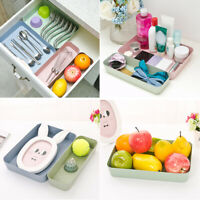 wD Kitchen Drawer Organiser Storage Boxes Tray Utensil Cutlery Degradable Holder