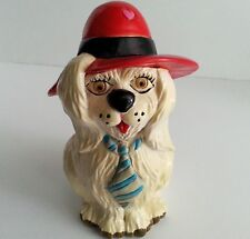 Vintage Cocker Spaniel Dog Plastic Coin Bank 1983 Small World Importing Red Hat