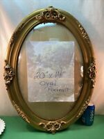Vtg 20-40's Ornate Barbola Flower Portrait Convex Glass Oval Gold Painted Frame