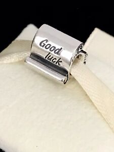 Pandora Silver GOOD LUCK SCROLL Charm 790514 Wave Bead 925 ALE + Box Authentic