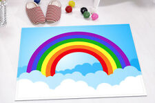Cartoon Pattern Rainbow Sky Clouds Memory Foam Kitchen Bathroom Bath Door Mat