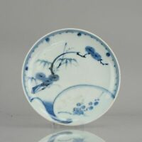 Antique Edo 17th C Japanese Porcelain Plate Arita Japan Ko-Imari