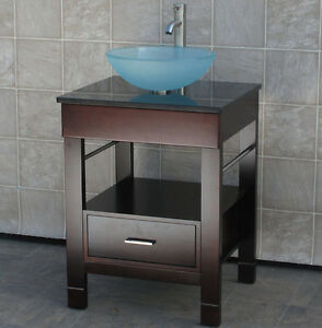 "24"" Bathroom Vanity 24-inch Cabinet Black Top Vessel Sink Faucet CG2"