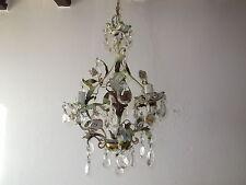 ~c 1920 French Tole Porcelain Roses Cherub Crystal Chandelier Vintage Original~