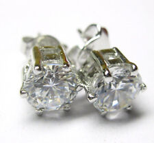 excellent 4.15 ct white round solitaire sterling Silver stud earring graded $856