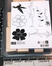 STAMPIN UP DREAM A LITTLE 8 RUBBER STAMPS FLOWERS BIRD BRANCHES