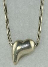 PRE OWNED VINTAGE STERLING SILVER SNAKE CHAIN MOD ART HEART NECKLACE MUNIR