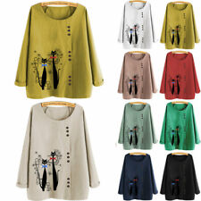 Women Cat Printed T Shirt Ladies Long Sleeve Top Oversized Blouse Pullover Tee