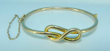 VICTORIAN ANTIQUE 15K CT YELLOW GOLD HINGED W SAFETY CHAIN KNOT BANGLE BRACELET