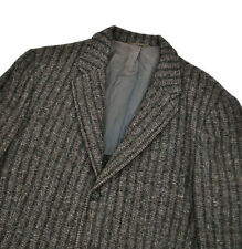 Harris Tweed 50's vtg Striped Jacket 38R Small Blazer Grey Red Sport Coat Atomic