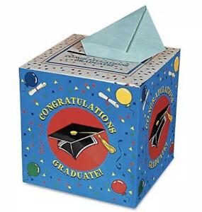 Graduation Card Money Gift Box Congrats Grad Party Decorations Hat Cap Blue