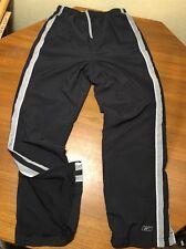 Reebok Mens M Sweat Pants Wind  Soccer Track Mesh Lined Black  Polyester