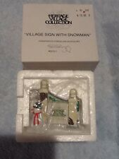 Dept 56 Heritage Village Collection - Village Sign With Snowman - #55727 - Mint