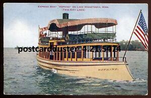 5474 - LAKE MINNETONKA Minnesota Postcard 1910s Express Boat HOPKINS by Hammon
