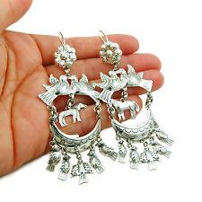 Long Designer 925 Sterling Silver Horse Chandelier Drop Earrings
