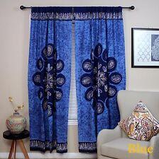 "Handmade Cotton Multi Batik Floral Mandala Block Print Curtain Drape Blue 47x85"""