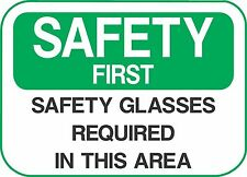"""SAFETY GLASSES  (5 Pack) 3.5"""" x 5"""" Label Sticker Sign Decal"""