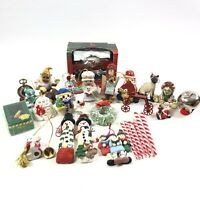 Mixed Lot of Christmas Tree Ornaments Santa Carolers Peppermint Jingle Bell