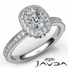Cushion Diamond Engagement GIA F VS1 Platinum Halo Pave Set Milgrain Ring 1.22Ct