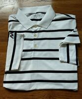 NIKE GOLF DRI-FIT Men's Large White Black Striped Polo Size L Company Logo EUC